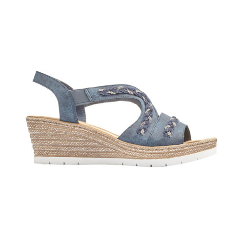 Rieker Ladies Wedge Sandal - 619D8 - Navy