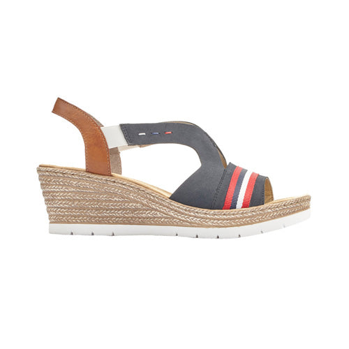 Rieker Ladies Wedge Sandal - 619S6 - Navy