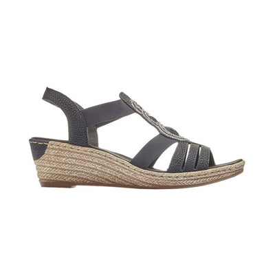 Rieker Ladies Wedge Sandal - 62459 - Black