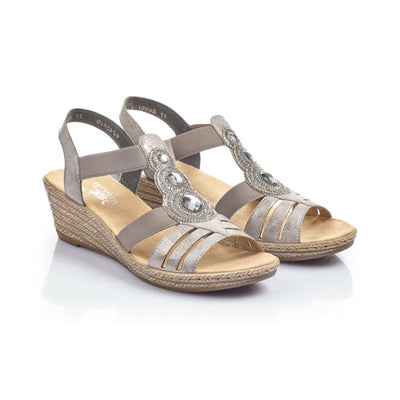 Rieker Ladies Wedge Sandal - 62459 - Silver