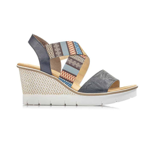 Rieker Ladies Wedge Sandal - 68518 - Navy