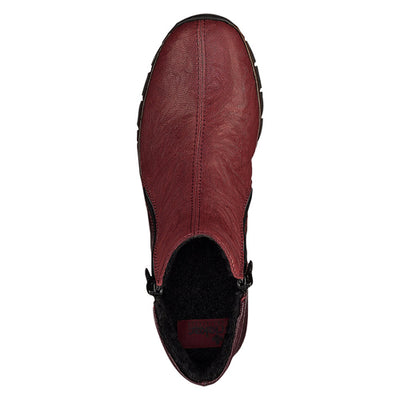 Rieker Wedge Ankle Boots - 73781 - Burgundy