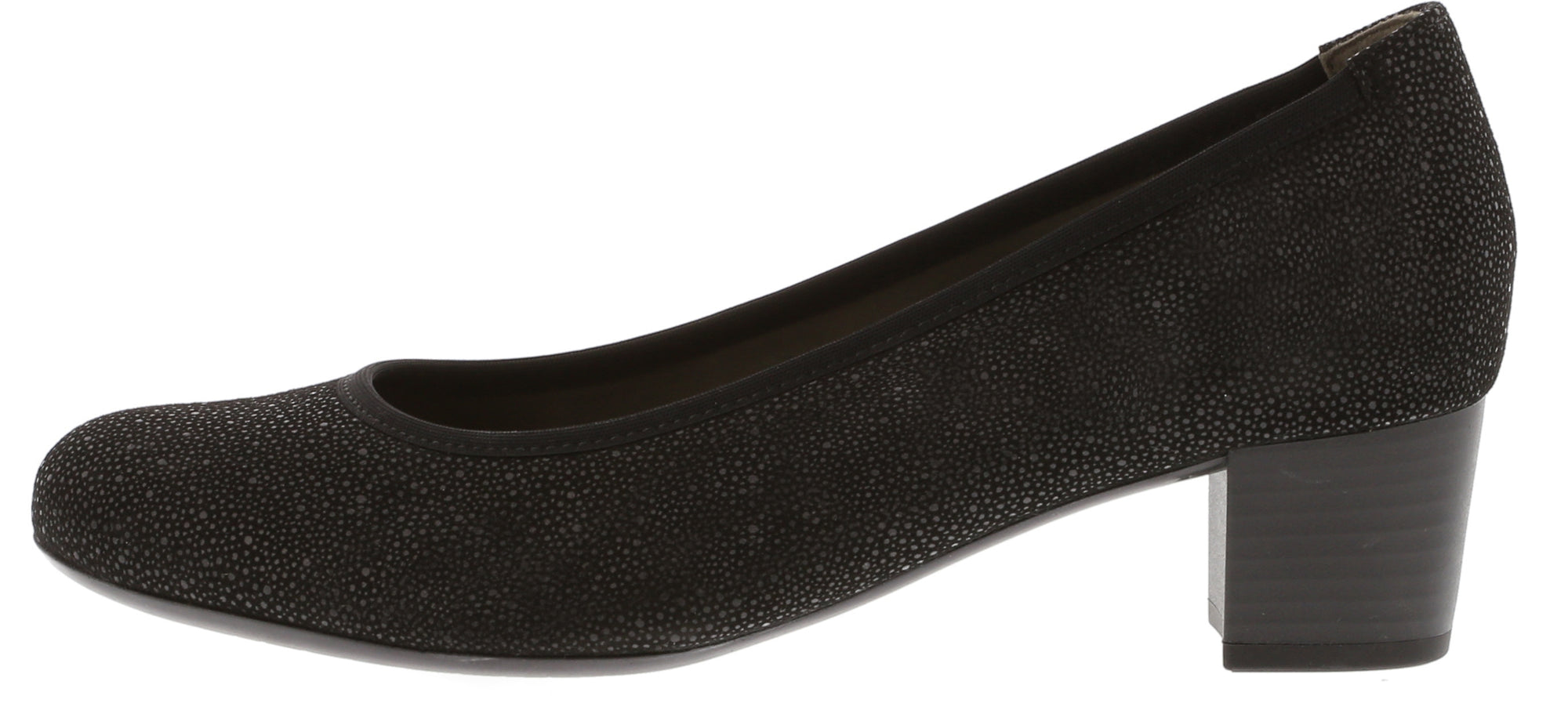 Gabor - 75.380 - Black - Print  - Block Heel  Court Shoe