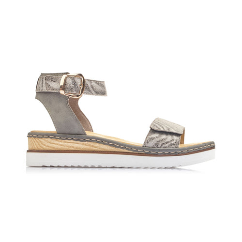 Rieker Ladies Wedge Sandal - 67952 - Grey