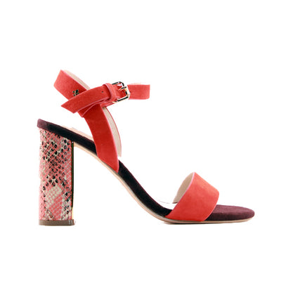 Amy Huberman Block Heeled Sandals - Blonde Crazy - Red