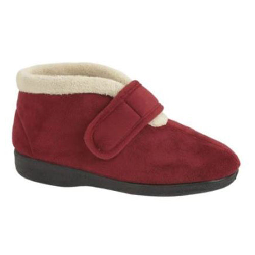 Sleepers Velcro Boot Slipper - Amelia - Burgundy