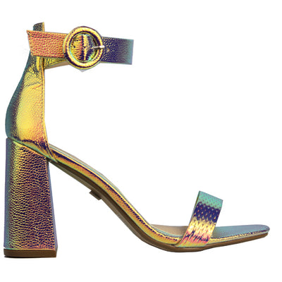 Millie & Co Block Heel Sandal - Erica - Mermaid Multi