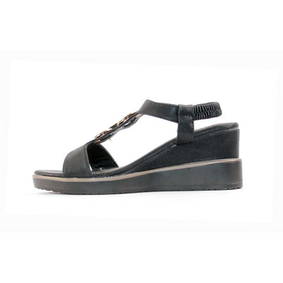 Heavenly Feet Wedge Sandal  - Milena - Black