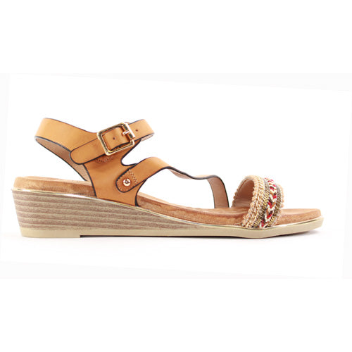 Heavenly Feet Wedge Sandal  - Garnet - Tan