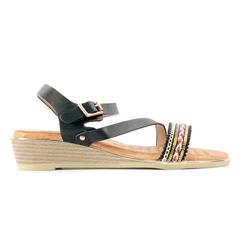 Heavenly Feet Wedge Sandal - Garnet - Black