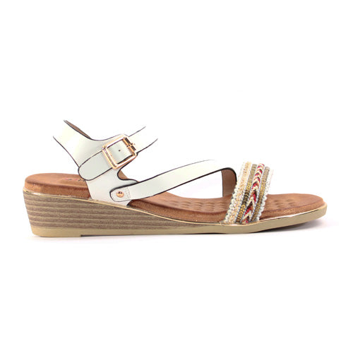 Heavenly Feet Wedge Sandal  - Garnet - White