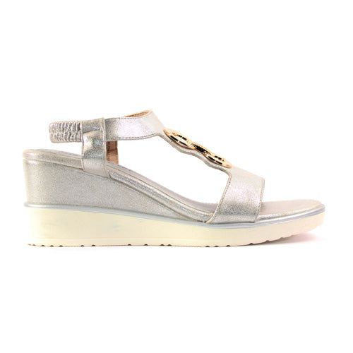 Heavenly Feet Wedge Sandal  - Milena - Silver