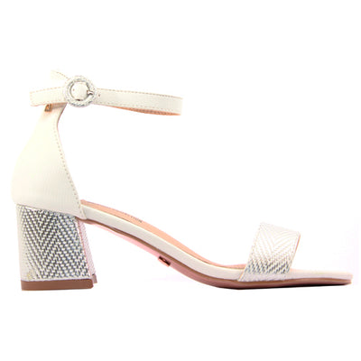 Una Healy Block Heeled Sandals  - Whipping Post - Silver