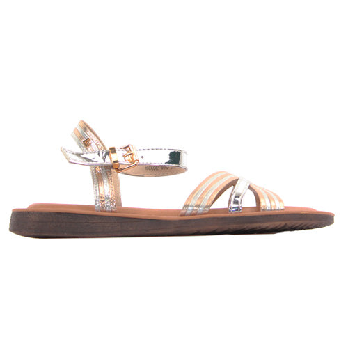 Una Healy Ladies Flat Sandal - Hickory Wind - Silver