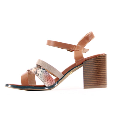 Escape  Block Heeled Sandals - Eureka - Tan