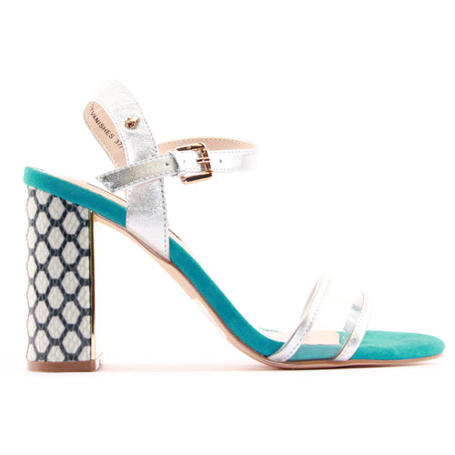 Amy Huberman Block Heeled Sandals - The Lady Vanishes - Silver