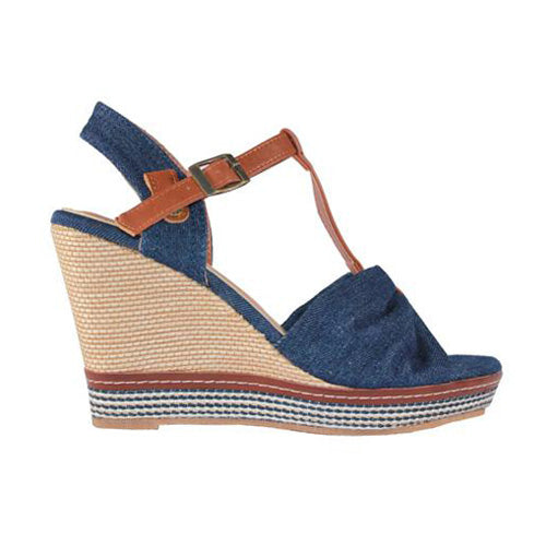 Redz Wedge Sandal - F637-42 - Navy