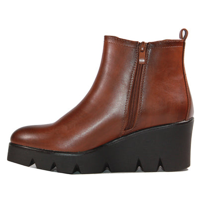 Millie & Co.  Wedge Ankle Boots - Elizabeth - Brown