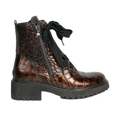 Waldlaufer Wide Fit Ankle Boots - 716802 - Brown Croc