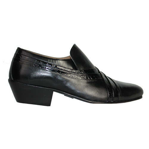 Catesby Cuban Heel Slip on Mens Shoe - RT111 - Black