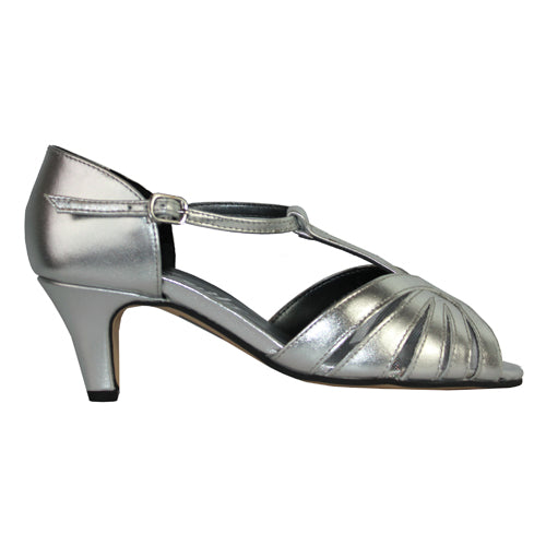 Equity  T Bar Wide Fit Sandal - Sasha - Silver