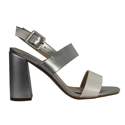 Millie and Co Block Heel Sandal - Kyle - White/ Silver
