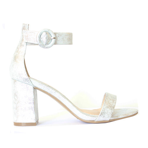 Millie & Co. Block Heel Sandal - Lisa - Silver