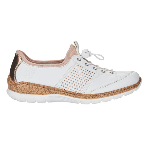 Rieker Ladies Flat Shoe - N42G8-80 - White