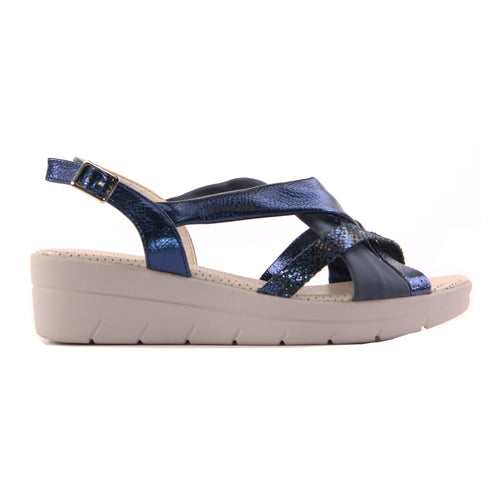Zanni Ladies Wedge Sandal - Semnan- Navy