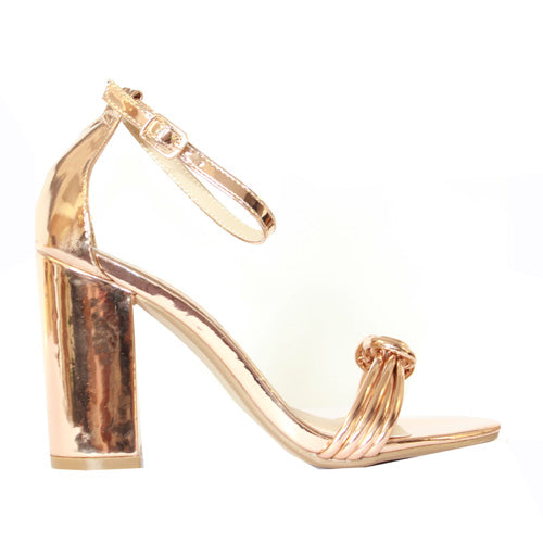 Millie & Co. Block Heel Sandal - Teddy - Gold