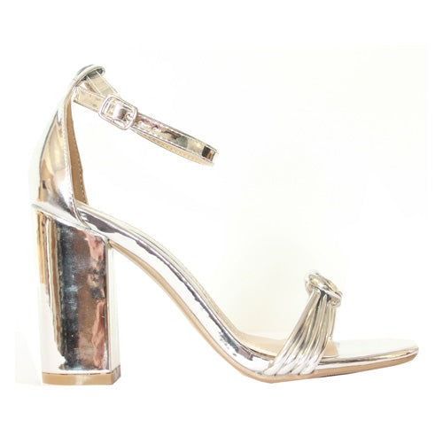 Millie & Co. Block Heel Sandal - Teddy - Silver