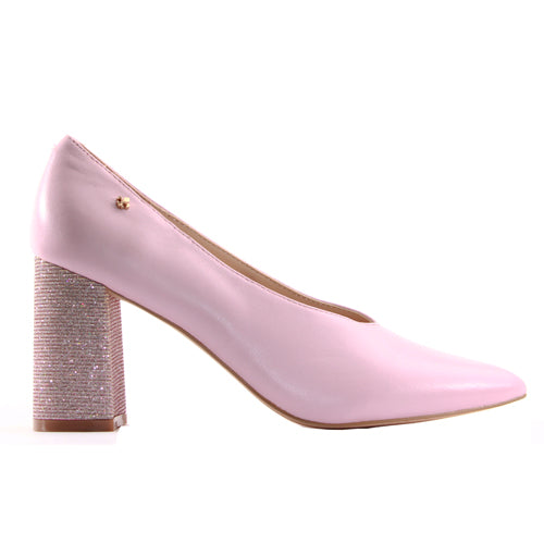 Amy Huberman Dressy Block Heels -  Top Hat - Pink