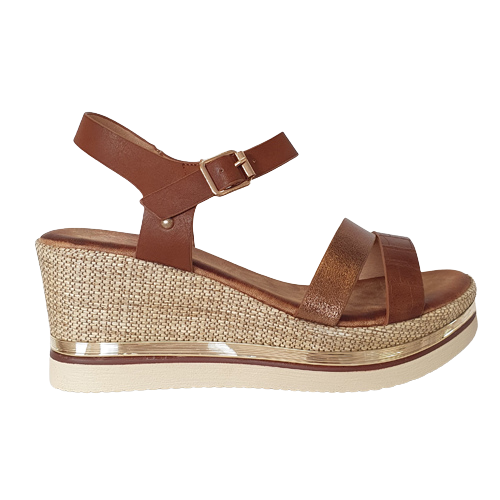 Zanni Wedge Sandals - Adlan - Tan