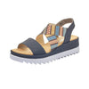 Rieker Ladies Wedge Sandal - V44G8 - Navy