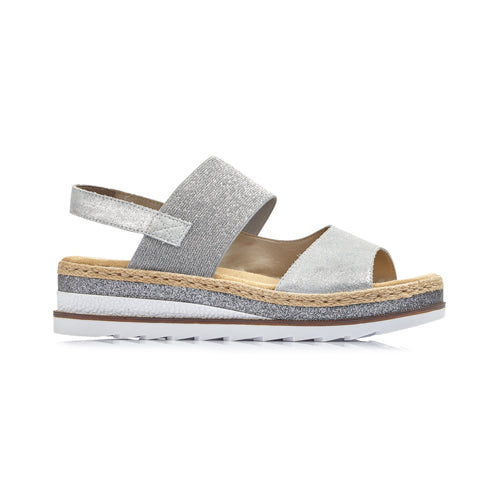 Ladies Wedge Sandal - V7982 - Silver