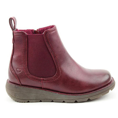 Heavenly Feet Wedge  Ankle Boots - Rolo - Burgundy