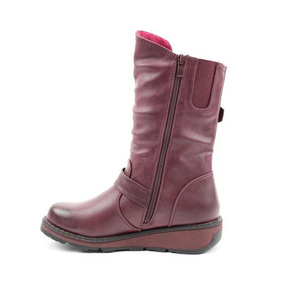 Heavenly Feet Midi Boot - Hannah - Burgundy