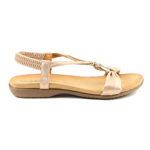 Heavenly Feet Flat Sandal - Campari- Rose Gold