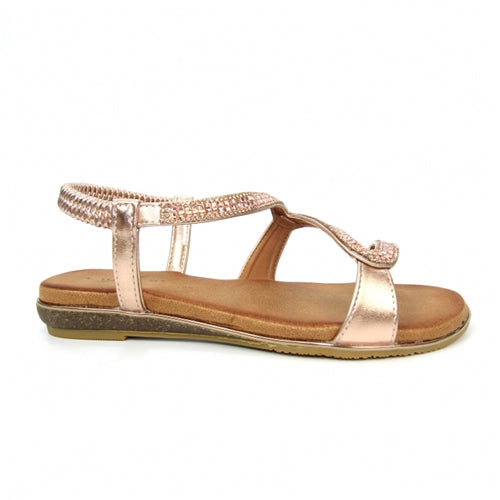 Lunar Flat Sandals - Emilia - Rose Gold