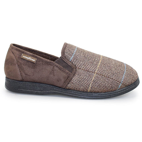 Lunar Goodyear Slipper -  Harrison - Brown Tweed