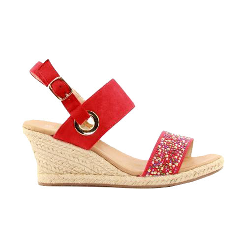 Lunar Wedge Sandal - Priya - Red