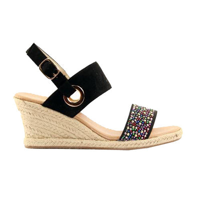 Lunar Wedge Sandal - Priya - Black