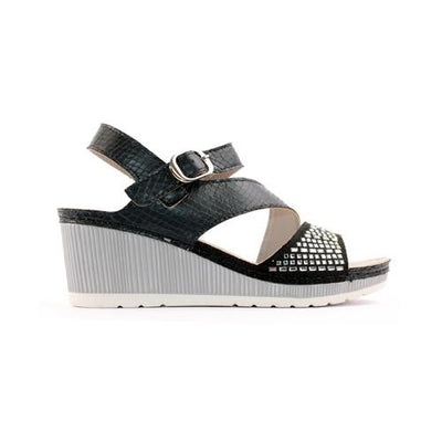 Zanni Ladies Wedge Sandal - Zenobia- Black