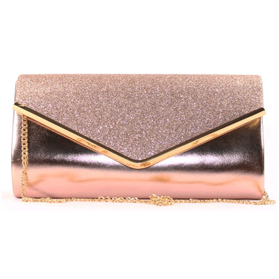 Glamour Clutch Bag - Sadie - Rose Gold