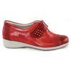 Suave Leather Wide Fit Velcro Shoes - Joan- Red