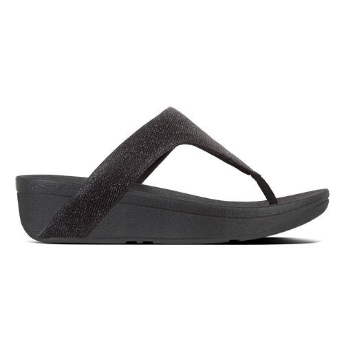 Fitflop Toepost Sandals - Lottie Glitz - Black