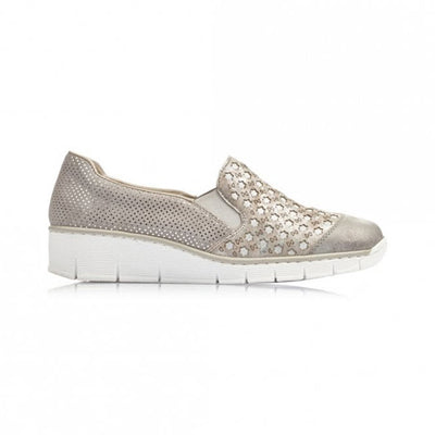 Rieker Wedge Shoes - 537W440 - Grey