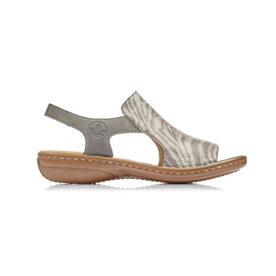 Ladies Flat Sandal - 60840 - Grey