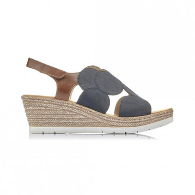 Rieker Ladies Wedge Sandal - 61919 - Navy
