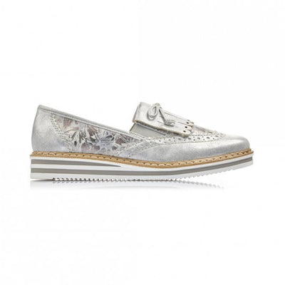Rieker Wedge Loafers - N0273 - Silver